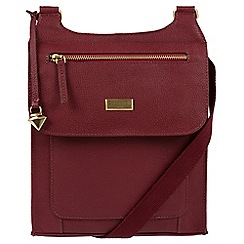 Cultured London - Ruby Red 'Madison' leather cross-body bag