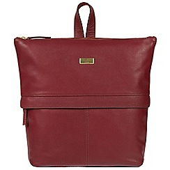 Cultured London - Ruby red 'Jinni' leather backpack