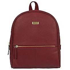 Cultured London - Ruby red 'Renee' fine leather backpack