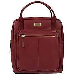 Cultured London - Ruby red 'Jaclyn' leather backpack