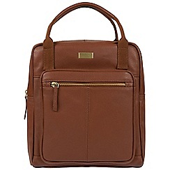 Cultured London - Sienna brown 'Jaclyn' leather backpack