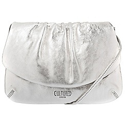 Cultured London - Silver 'Serena' soft cowhide evening cross-body bag