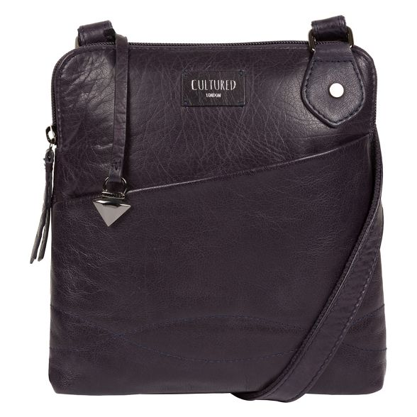 leather London bag Navy 'Abberton' cross body Cultured 6qRwtR