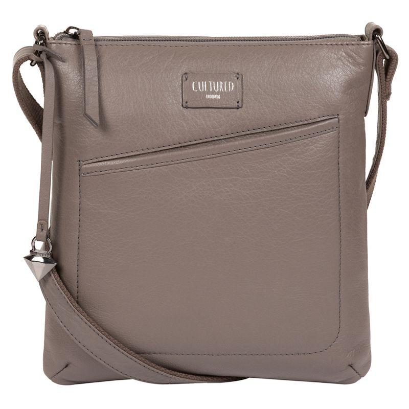Cultured London - Grey Gainford Leather Cross-Body Bag