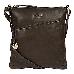 Cultured London - Olive 'Gainford' leather cross-body bag