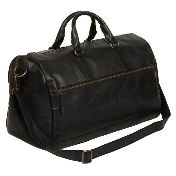 leather 'Lucca' Luxuries Black holdall Pure London Italian inspired 6xwxAnY
