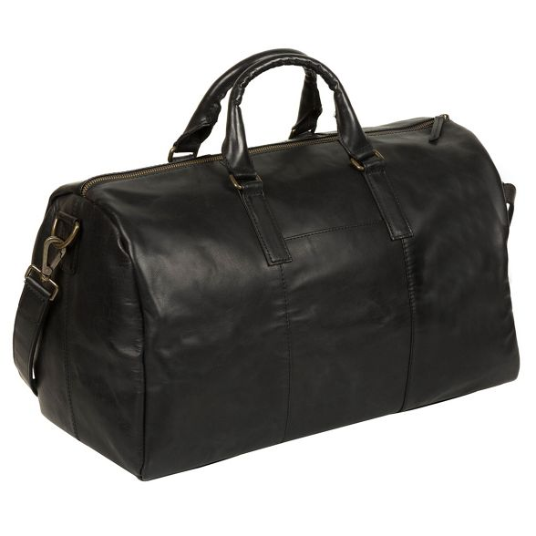London 'Lucca' inspired Pure leather holdall Italian Black Luxuries FgwqxS5