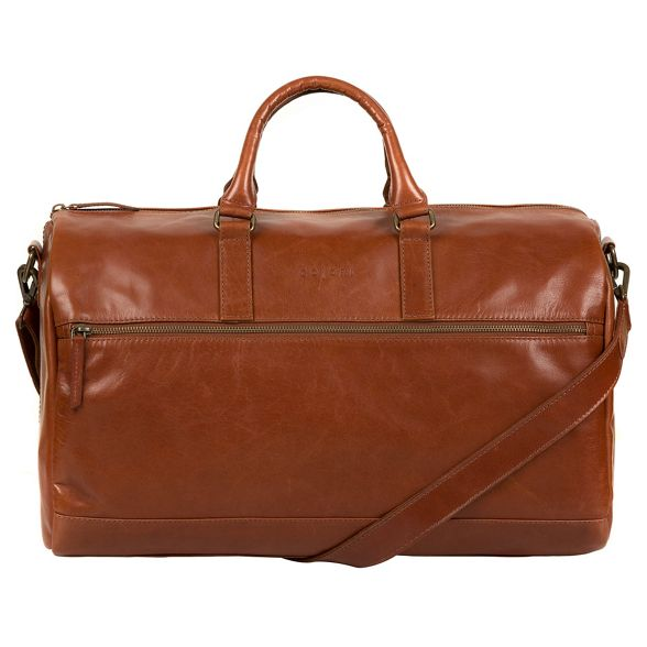 Pure holdall inspired leather 'Lucca' London Luxuries Chestnut Italian HqwUFHrx