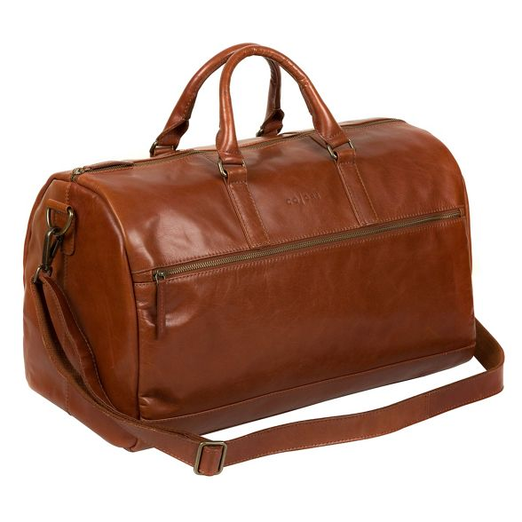 London Italian Pure inspired leather 'Lucca' Chestnut holdall Luxuries 8TZqO