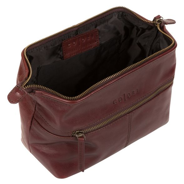 inspired washbag London Luxuries Italian Italian leather Pure brown 'Morano' z76qO