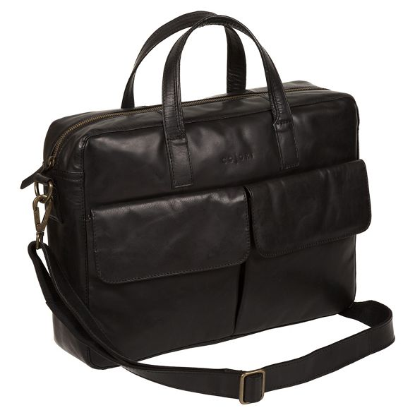 Italian Pure Black 'Vasto' London work bag inspired Luxuries leather nnFfq7I