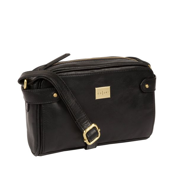 leather Luxuries bag Italian Inspired Black London body cross 'Rivoli' Pure vqOHq
