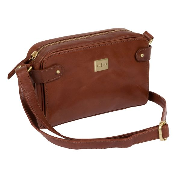 Pure 'Rivoli' cross leather Inspired body Italian London bag Luxuries Chestnut q6wxrSq