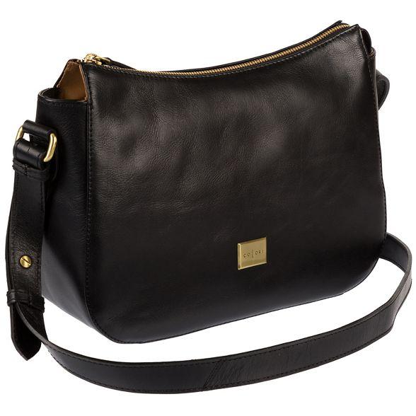 Luxuries Black Pure leather inspired London Italian bag 'Enna' hobo 6wzzqOBav