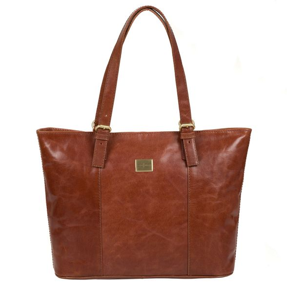 bag Luxuries tote Italian Pure London inspired leather 'Bianca' Chestnut 7pn8gSxw