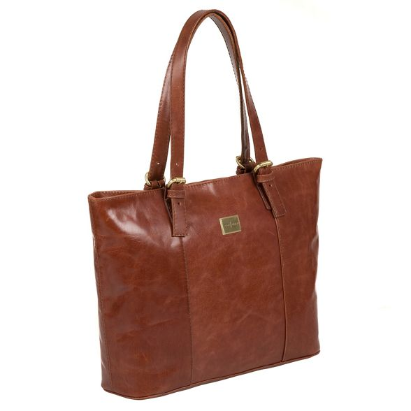 Luxuries Chestnut Pure leather London inspired tote 'Bianca' bag Italian BxwACwq