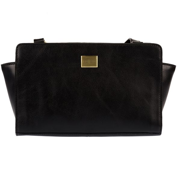Pure Italian bag body London 'Valentina' Luxuries cross inspired leather Black nBrqBAzwI