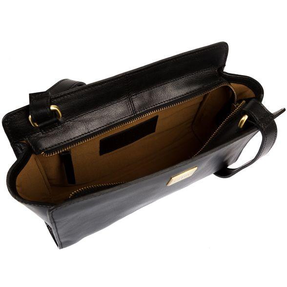 Pure Italian bag body London 'Valentina' Luxuries cross inspired leather Black nBrqBAzwI
