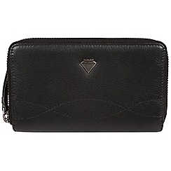 Cultured London - Black 'Wittion' zip-round leather purse