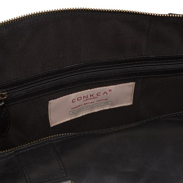 Conkca London Leather 'Duran' Black Buffalo Holdall ardxaPw