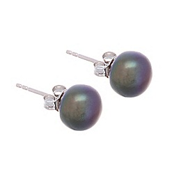 Pure Luxuries London - Gift boxed 'Maria' 9-9.5mm freshwater peacock colour pearl stud earrings