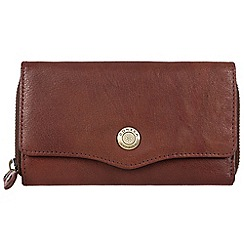 Conkca London - Vintage brown 'Alexia' waxed leather 9-card RFID purse