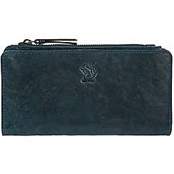 Conkca London - Denim 'Misty' handcrafted leather RFID purse