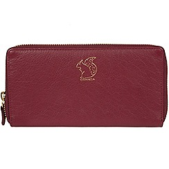 Conkca London - Deep red 'Aisling' leather zip round purse