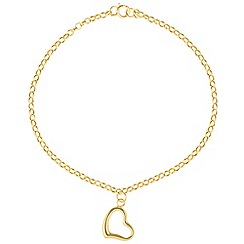 Pure Luxuries London - Gift packaged 'Mandisa' 9ct yellow gold heart charm bracelet