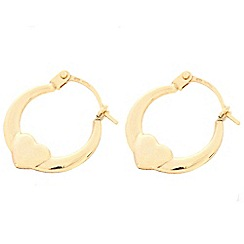 Pure Luxuries London - Gift packaged 9ct yellow gold 'Cariad' heart creole earrings