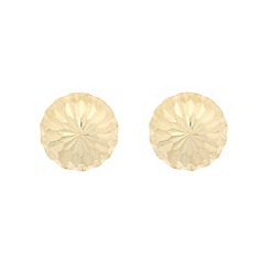 Pure Luxuries London - Gift boxed 'Taelyn' 9ct yellow gold diamond cut half ball stud earrings