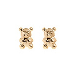 Pure Luxuries London - Gift packaged 'Leora' 9-Carat yellow gold teddy bear earrings