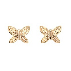 Pure Luxuries London - Gift packaged 'Parisa' 9-Carat yellow gold butterfly earrings