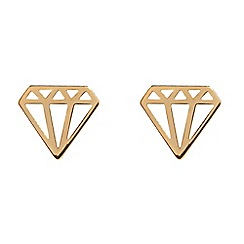 Pure Luxuries London - Gift packaged 'Natania' 9-Carat yellow gold diamond silhouette earrings