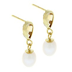 Pure Luxuries London - Gift boxed 'Alize' 9-carat yellow gold, citrine & pearl earrings