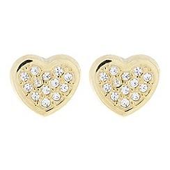 Pure Luxuries London - Gift boxed 'Freya' 9-carat yellow gold & cubic zirconia heart earrings