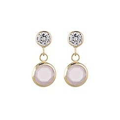 Pure Luxuries London - Gift packaged 'Rehema' 9ct yellow gold, cubic zirconia and pink crystal drop earrings