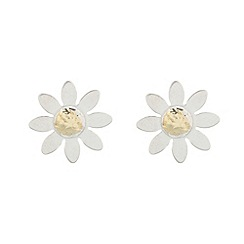 Pure Luxuries London - Gift boxed 'Evaline' 9ct white gold and 9ct yellow gold daisy earrings
