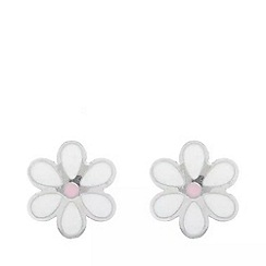 Pure Luxuries London - Gift boxed 'Elspeth' 9ct white gold small daisy stud earrings