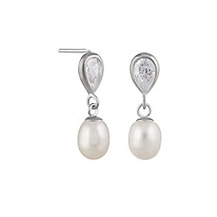 Pure Luxuries London - Gift packaged 'Raziya' 9ct white gold, cubic zirconia and pearl drop earrings