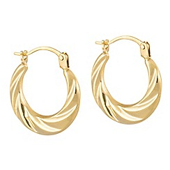 Pure Luxuries London - Gift packaged 'Jufemi' 18ct yellow gold twist mini creole earrings