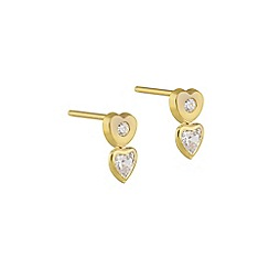 Pure Luxuries London - Gift packaged 'Henrietta' 18ct yellow gold and cubic zirconia heart stud earrings