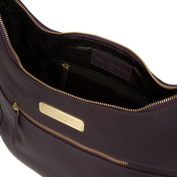 Luxuries bag Pure London Ryde' leather Plum hobo Rxx1qwUB