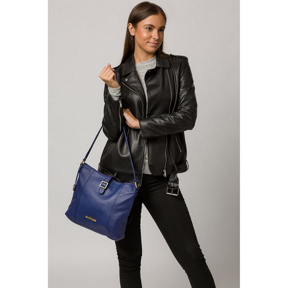 leather French Pure handbag 'Elaine' navy London Luxuries RqwnwCSX
