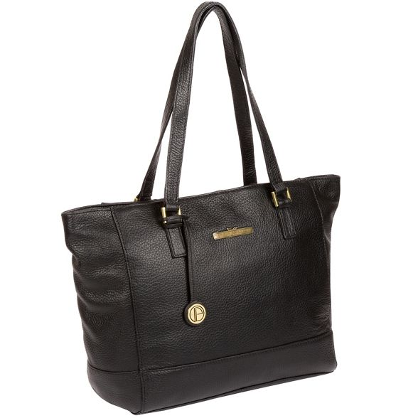 handbag 'Goldie' Pure Black Luxuries leather London SqxXPzF