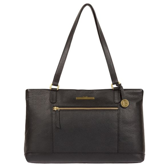 Luxuries 'Thea' London shoulder bag leather Pure handcrafted Black fqwdxfHp