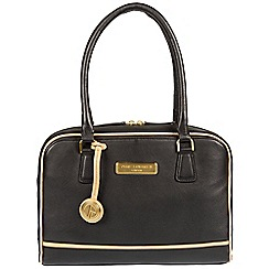 Pure Luxuries London - Black and champagne trim 'Fleur' soft leather handbag  Deluxe Collection