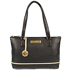 Pure Luxuries London - Black and champagne trim 'Freya' soft leather handbag  Deluxe Collection
