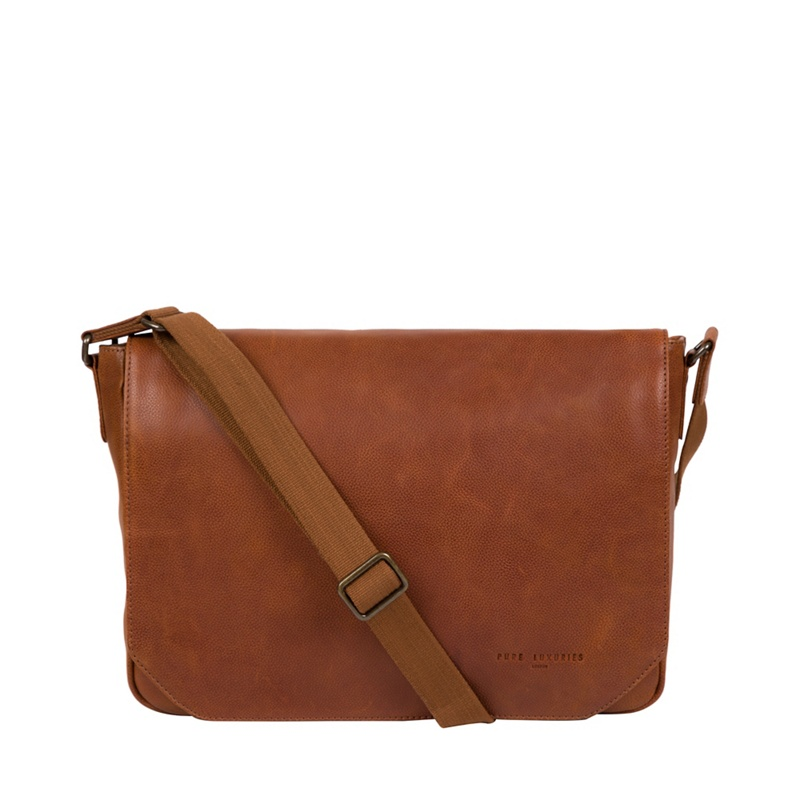 Pure Luxuries London - Tan Eiger Leather Messenger Bag