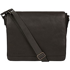 Pure Luxuries London - Black 'Peak' leather messenger bag